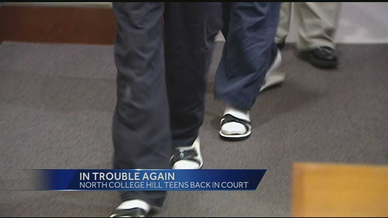 Two of the teen boys convicted of beating a man in North College Hill were back in court Wednesday morning, accused of taking part in another beating.