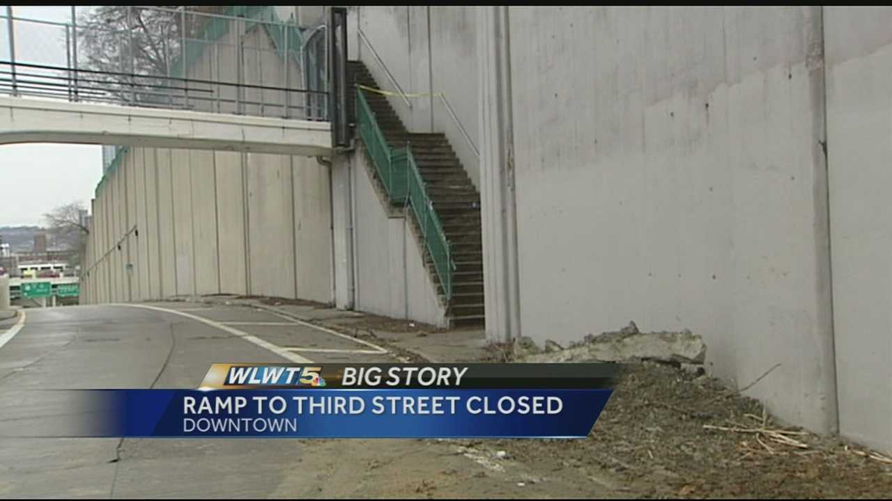 Cincinnati engineers said crews had secured the area and retaining wall but the ramp would be closed through the Monday morning commute.