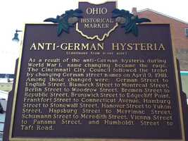 The reverse side of the Ohio historical marker near Findlay Market at Glass Alley and Pleasant Street.