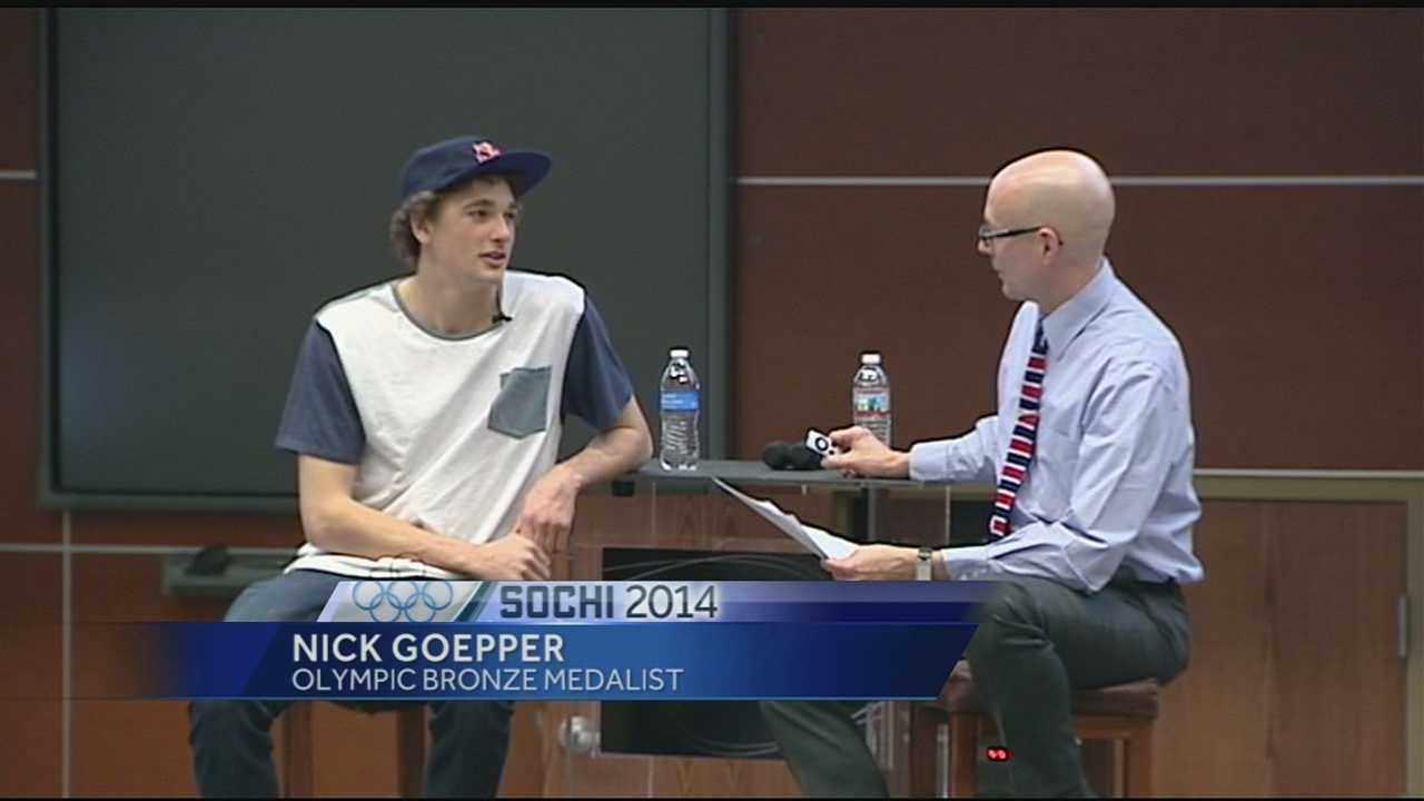 Nick Goepper paid a visit to the University of Cincinnati on Wednesday.