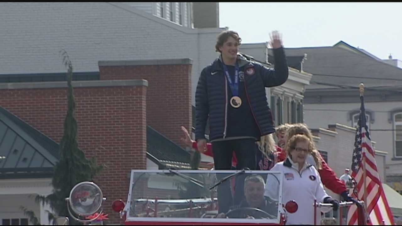 Lawrenceburg has welcome home celebration for Nick Goepper