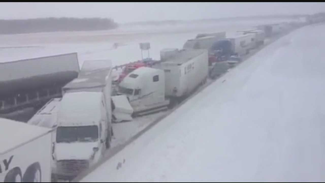 A flurry of accidents midway between Toledo and Cleveland blocked the toll road in both directions beginning Wednesday afternoon.