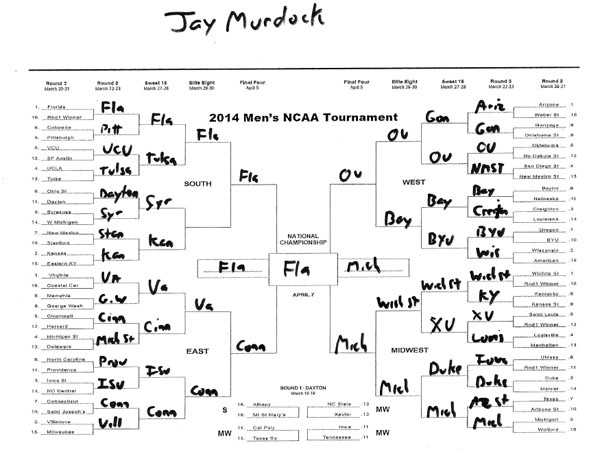 Click here to take a closer look at Jay Murdock's bracket