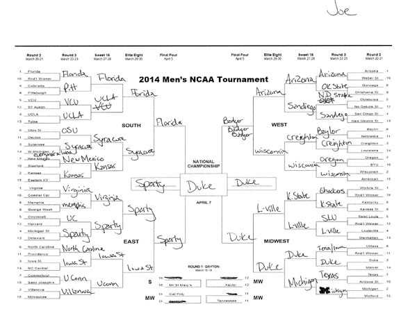 Click here to take a closer look at Joe Chambers' bracket