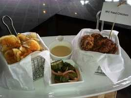 RFC Bucket (Fried Chicken): Buttermilk Fried Game Hen, Sriracha Pickle Chips, Maple Gravy, House Chips