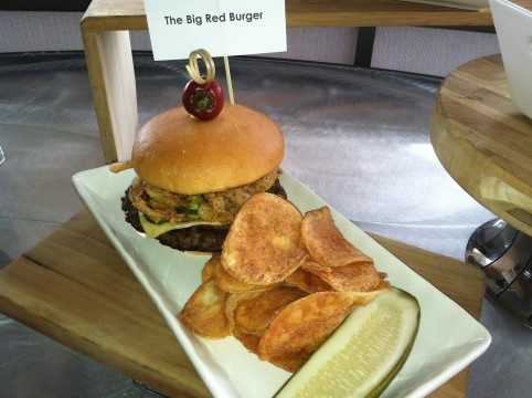 The Big Red Burger: Sriracha Mayo, Pepper Jack Cheese, Jalapeno Peppers and Fried Onions