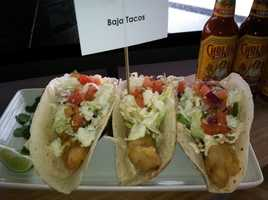Baja Tacos: Battered Fish, Cabbage, Queso Fresco, Pico and Baja Sauce