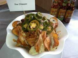 The Chipper: Pulled Pork, Nacho Cheese, Pickled Jalapeno Peppers and Red Onions