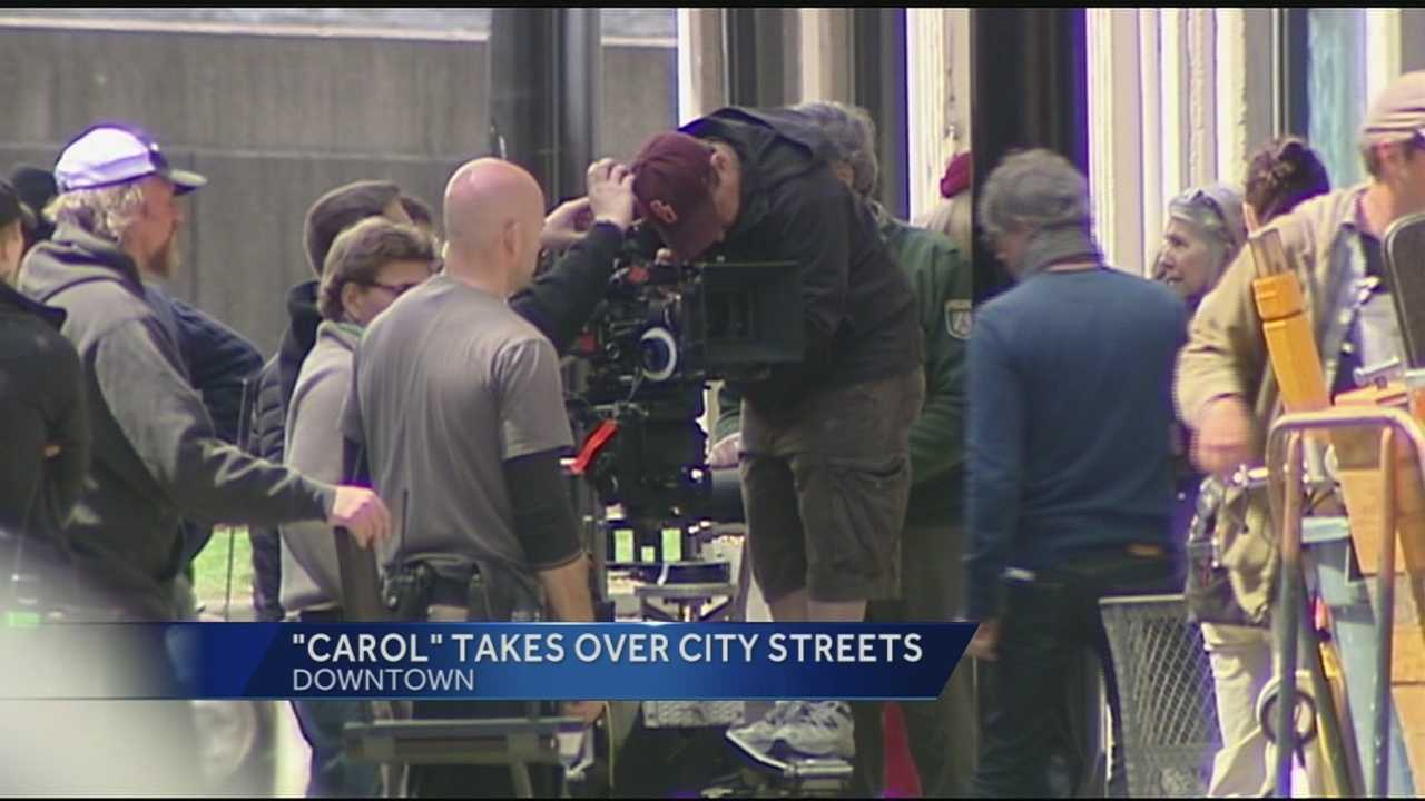 Downtown Cincinnati was transformed into 1950's New York Wednesday as the movie 'Carol' continued filming in the Tri-State. Crews will be filming in 60 other locations around the Tri-State.