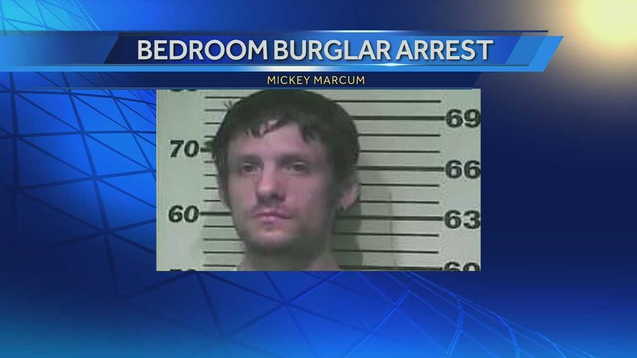 Police have made an arrest in a case where they said a burglar broke into a sleeping woman's home, stole from her, then lifted the blankets off her before fleeing. Mickey Marcum, 25, faces four counts of burglary in connection four break-ins which happened this past weekend in Newport.