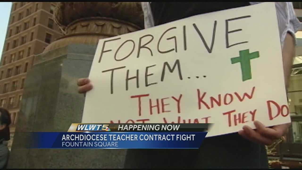 At least 100 catholic teachers, parents, and students protested outside Fountain Square. Their message to the Archdiocese was to fix the contract.