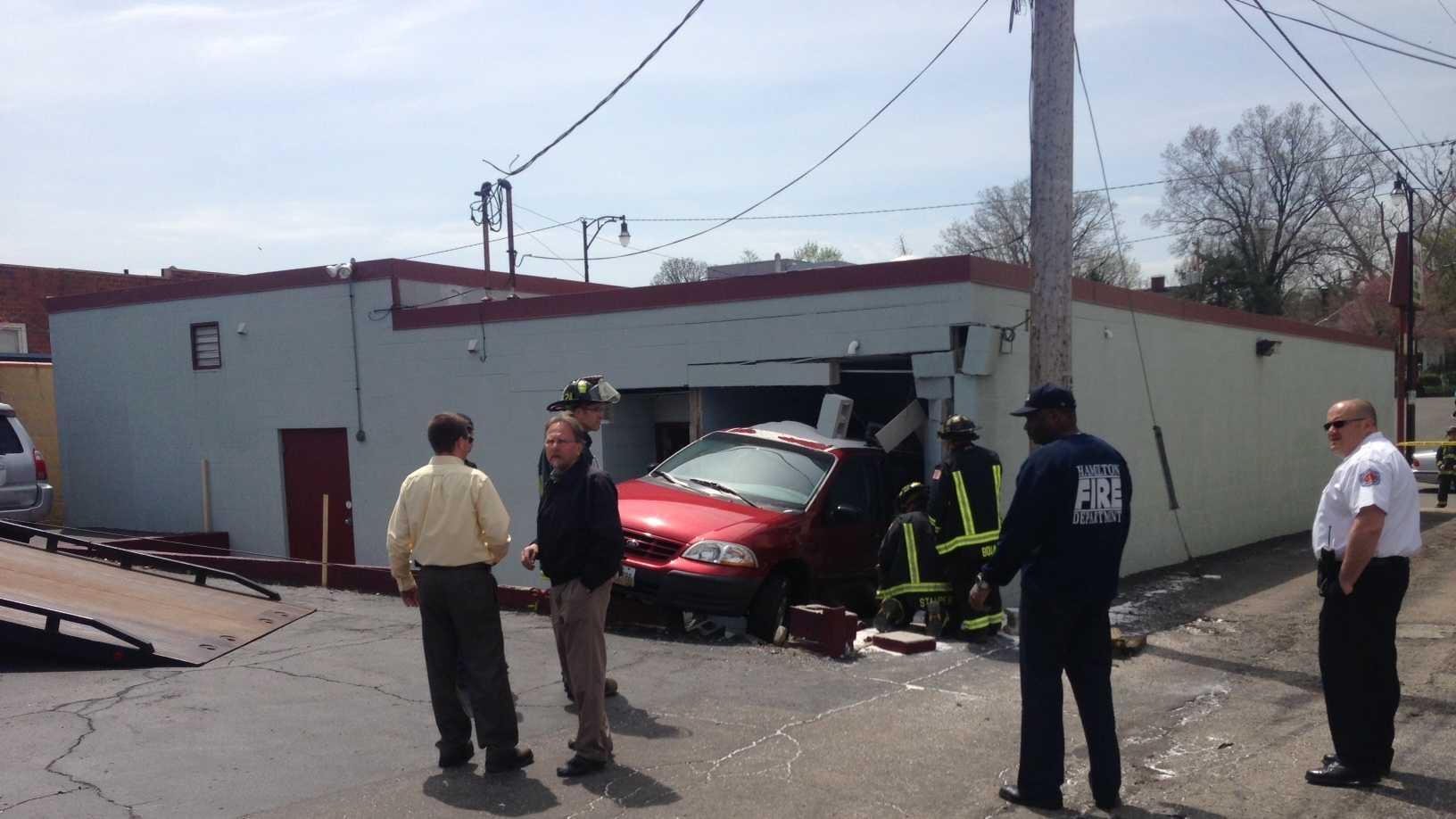 car into building hamilton 042414 2.JPG