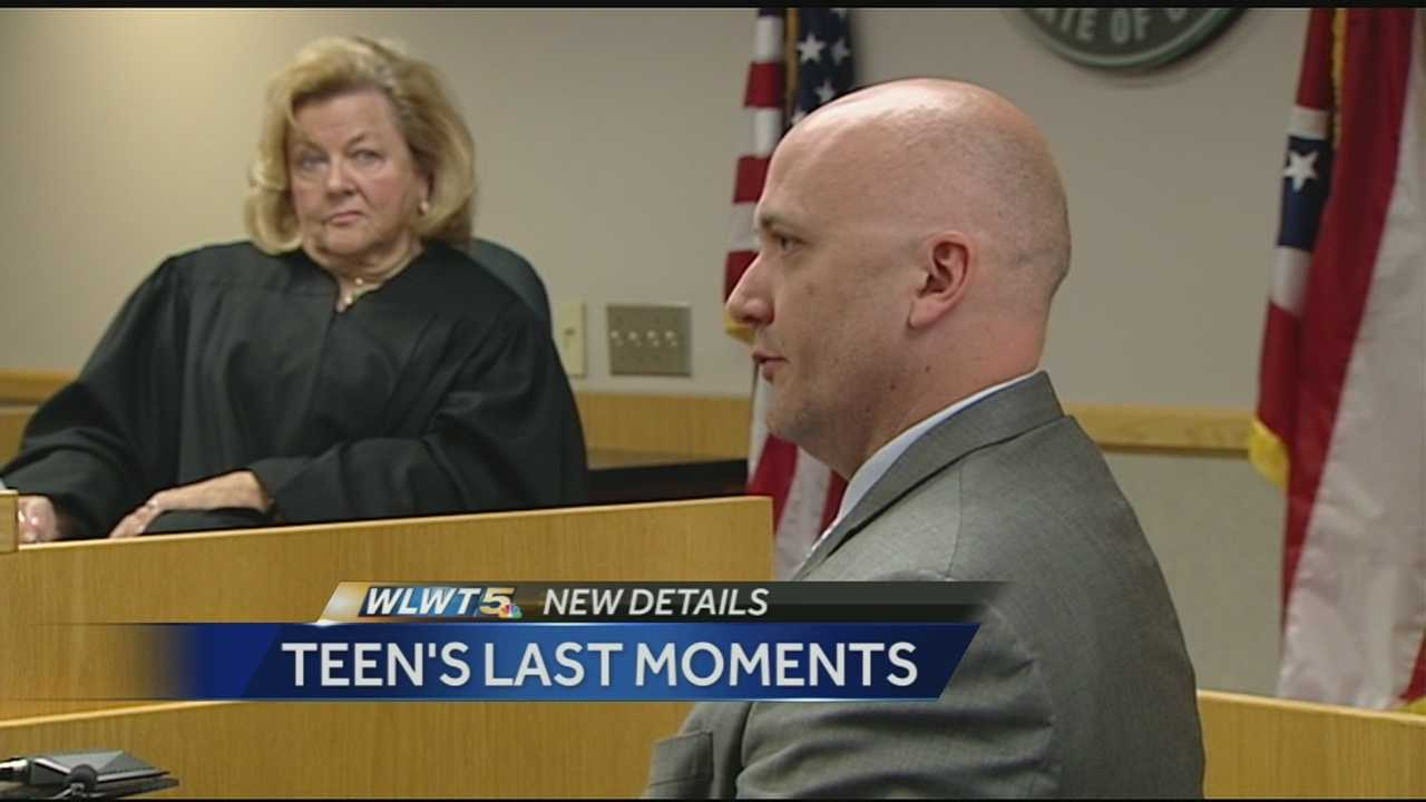 Detective Collin Vaughn described what happened in the last moments in the apartment building before Tyann Adkins was shot and killed. The hearing Friday was to determine if there was sufficient evidence to consider a felony charge of reckless homicide. Judge Sylvia Hendon determined there was evidence for the felony charge.