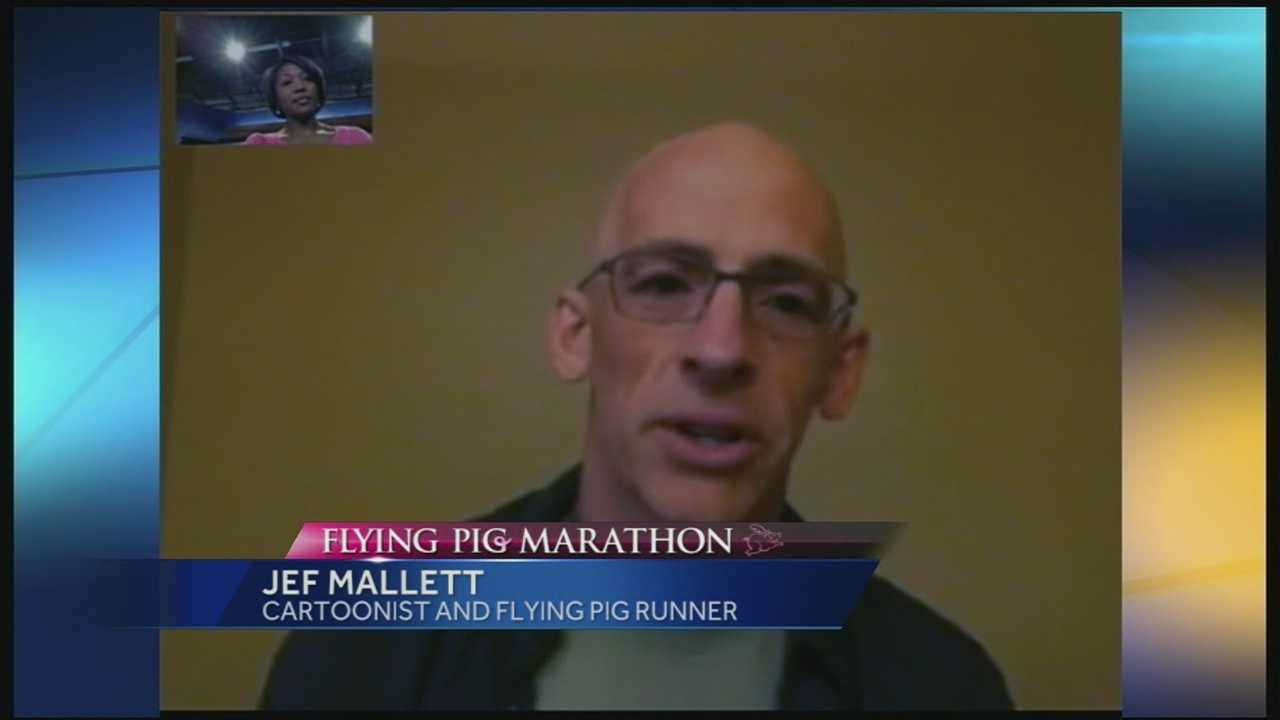 Jef Mallett, a nationally syndicated cartoonist whose work is featured in the Cincinnati Enquirer, will run his very first Flying Pig marathon this year. But it won't be his first time talking - or drawing - about the Cincinnati tradition. And although he's run many marathons and traveled to many cities, he said his first run in Cincinnati's Flying Pig probably won't be his last. He has an affection for the city, the hills, the river and the people.