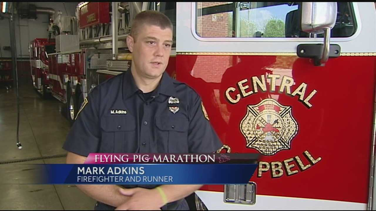 Mark Adkins wants to honor firefighters who have taken their own lives and to bring awareness to the fact that every two days, another firefighter or first responder commits suicide, so he will run the Flying Pig half marathon in full fireman gear.