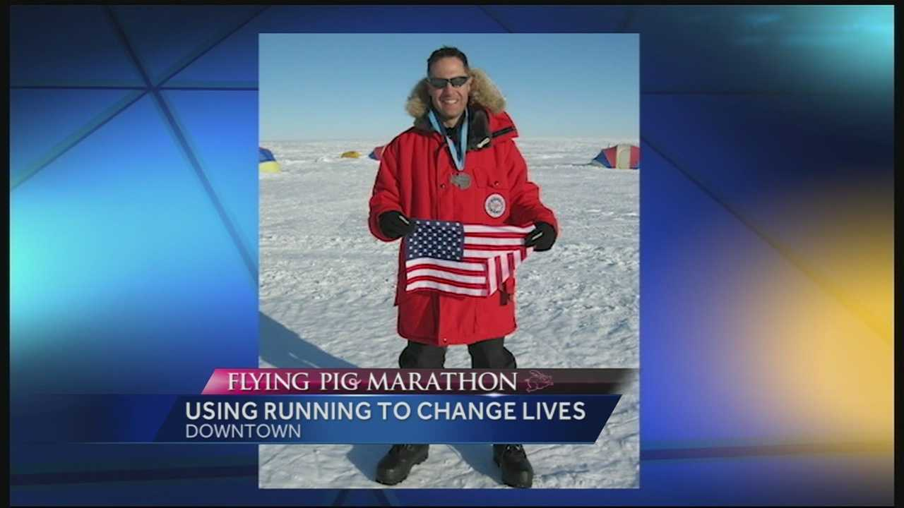 MIke Pierce is one of only 12 people who have completed the 62 mile Antarctica Ultra Marathon. Pierce used his running resume to connect with and inspire others that will run in the Flying Pig Marathon.