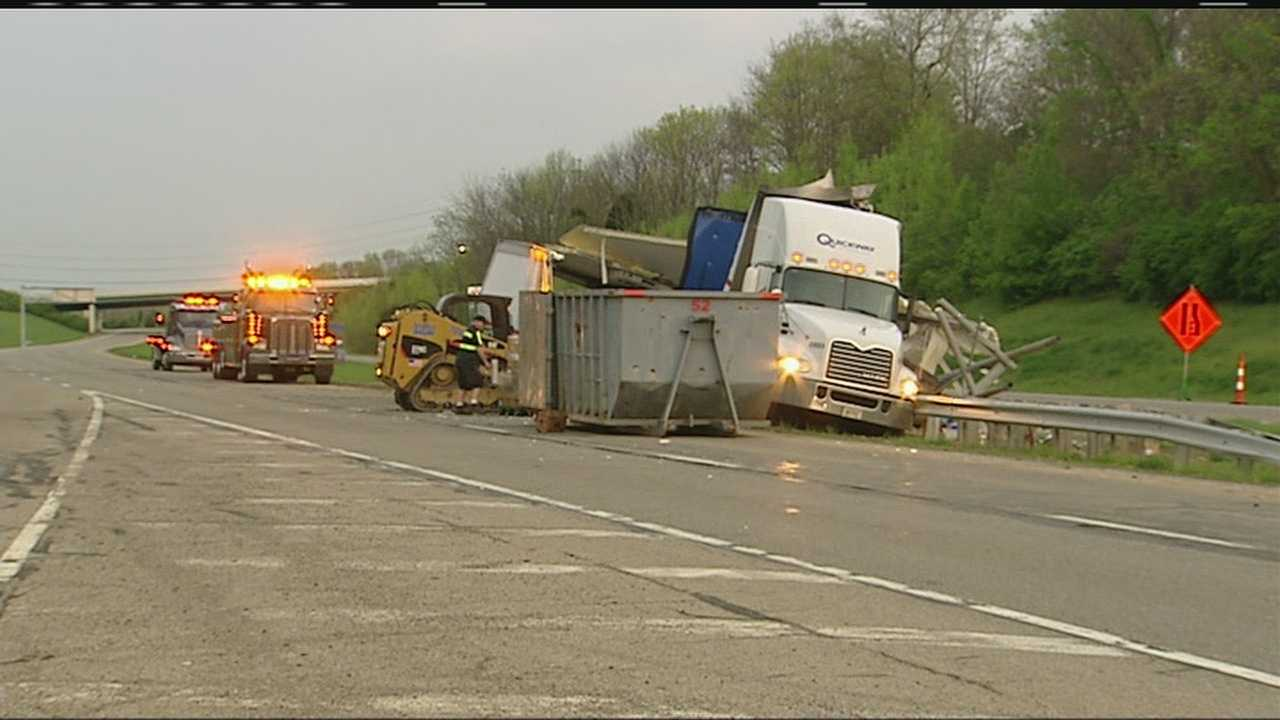 A collision between two trucks led to a mess that closed a major highway for much of Tuesday morning.