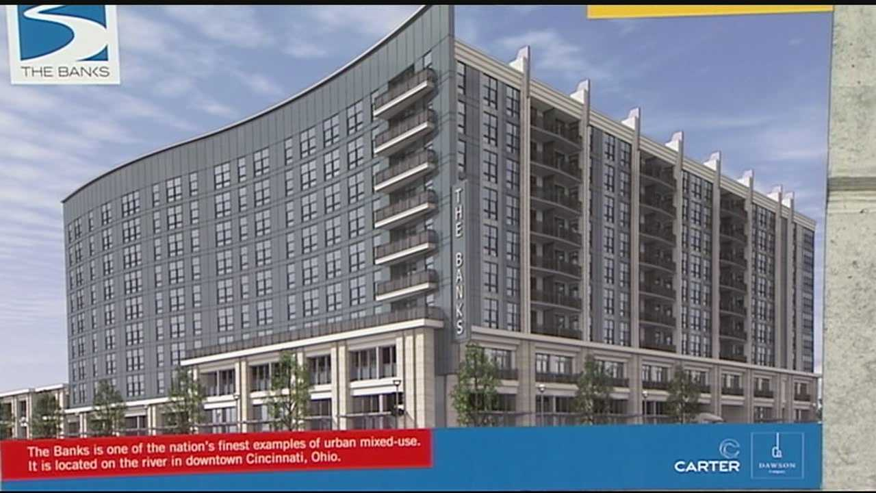 The Banks development on Cincinnati's riverfront entered Phase II Tuesday morning.