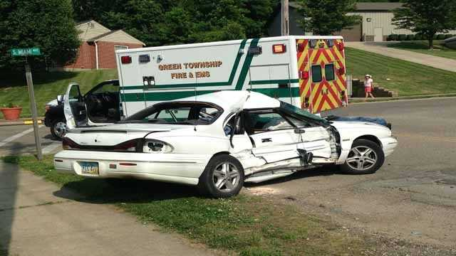 Two drivers were injured in an accident on Mt. Nebo Road Tuesday afternoon. Police said the driver of the white car turned in front of a Ford Explorer. Both drivers were taken to UC Medical Center with non-life-threatening injuries.