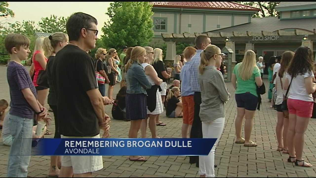Friends and family members of Brogan Dulle gathered at the Cincinnati Zoo to hold a vigil Tuesday night.