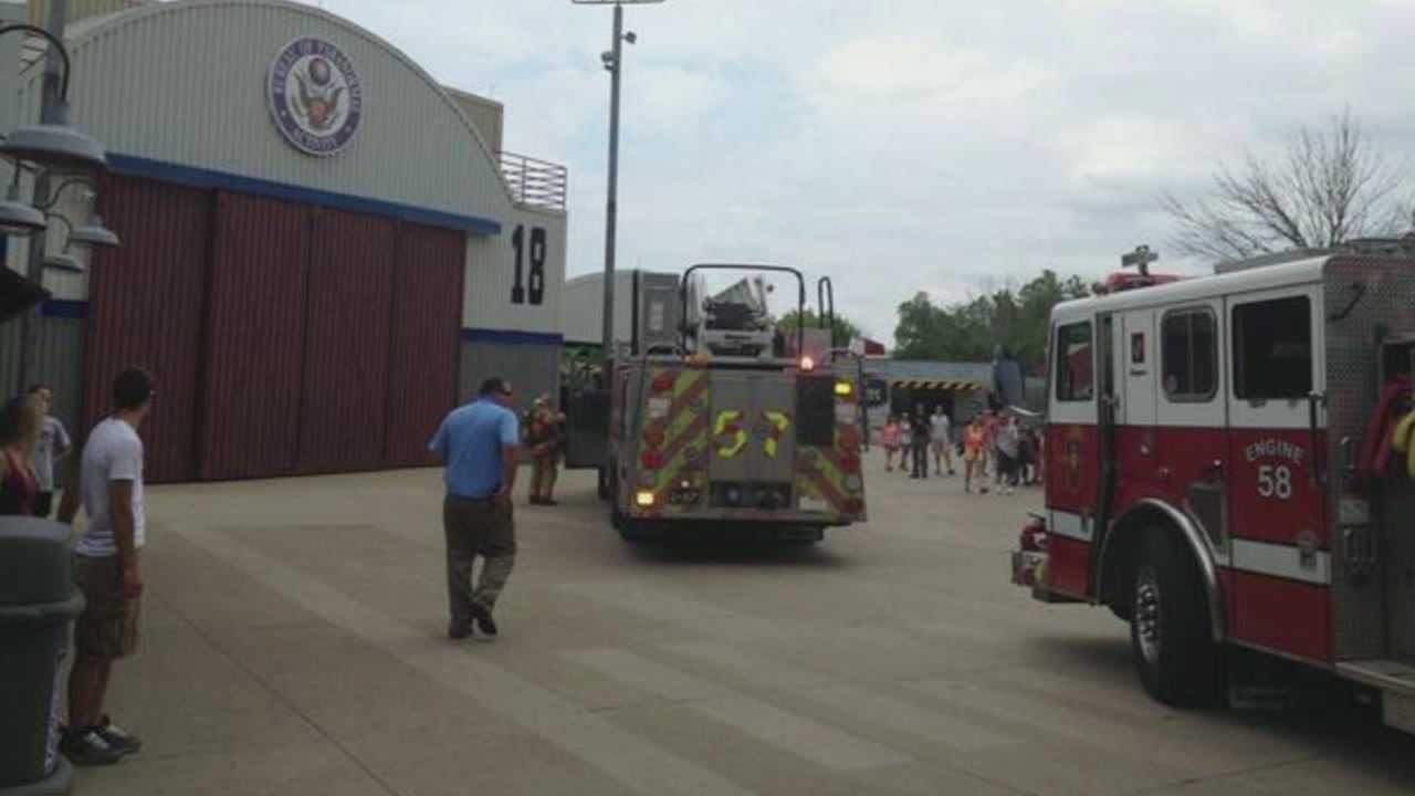 Emergency crews responded to a report of a structure fire at Kings Island Monday. Officials said the smoke, which was inside the Flight of Fear building, was found to be an electrical motor which was smoking heavily, but was not on fire. Officials said 18 people were exposed to smoke and two were treated at the scene.