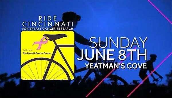 Ride Cincinnati June 8Location: Yeatman's Cove, DowntownRide Cincinnati is the first cycling event to raise funds for Breast Cancer Research in the Greater Cincinnati area. In its seventh year, the event continues to be a non-competitive, family-oriented ride through Cincinnati into Northern Kentucky. WLWT is a sponsor and our very own Kyla Woods is the emcee!Visit their website
