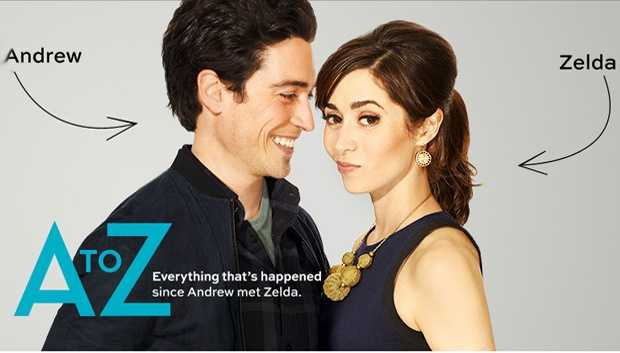 "A to Z:  THURSDAYS 9:30 pm. This is the A-to-Z story of Andrew (Ben Feldman, ""Mad Men"") and Zelda (Cristin Milioti, ""How I Met Your Mother"") - a pair that almost wasn't - and all that happened from the day they met. Andrew has always been a secret romantic... not above crooning to Celine Dion while driving to work, with dreams of finding ""the one."" He imagines her to be just like that shimmering beauty he spotted that night in that silver dress at that concert two years ago. Zelda, having grown up with a hippie mom who believed the universe would provide for everything, rebelled into a no-nonsense practical lawyer who prefers the control of online dating. But when a computer glitch sends her a total mismatch, she's asked to come in for an interview at the Internet dating service where Andrew works, and this is where it all begins. Andrew and Zelda meet for the first time and despite their differences, sparks fly. She thinks it's chance. He thinks it's fate. After all, he's convinced she's the shimmering girl in the silver dress. Is it true love forever or just a detour in destiny? Follow along the ins and outs of Andrew and Zelda.Cast: Ben Feldman, Cristin Milioti, Henry Zebrowski, Lenora Crichlow, Christina Kirk, and Katey Sagal."