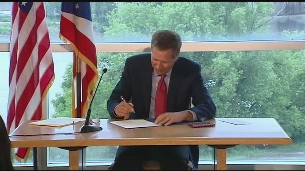 Ohio's governor put the finishing touches on tolling legislation for a new bridge in Cincinnati Wednesday. Toll opponents figure residents will reroute around a tolled bridge and create more traffic headaches on residential streets. Ohio's governor has been working with Kentucky's governor on the issue of tolling for the Brent Spence Bridge.