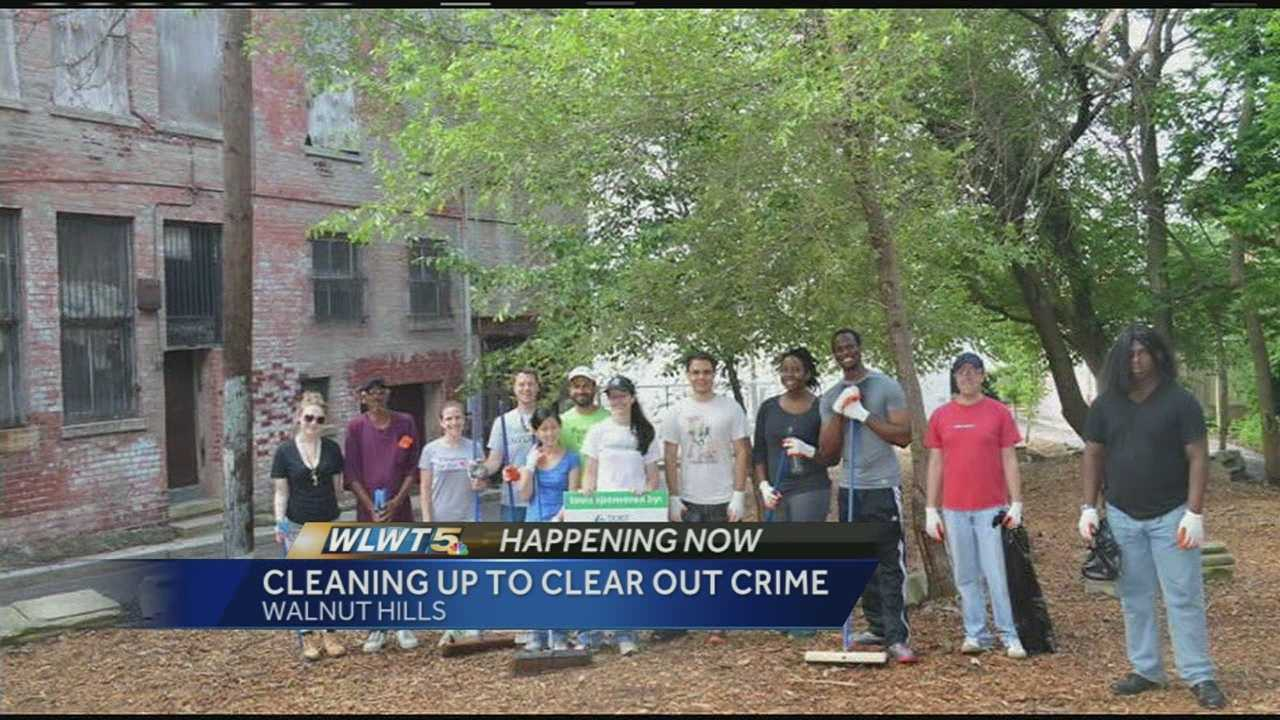 The Walnut Hills cleanup took place Saturday as volunteers picked up trash, planted plants and cleaned up alleys before gathering at the 5 Points Alley to enjoy a music concert. Cleaning up Walnut Hill is part of a bigger effort to re-develop the neighborhood.