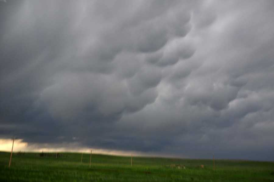 Mammatus clouds south of Gillette, Wy.