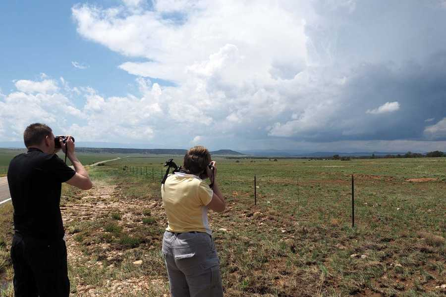 Louis and Deb photographing the storm