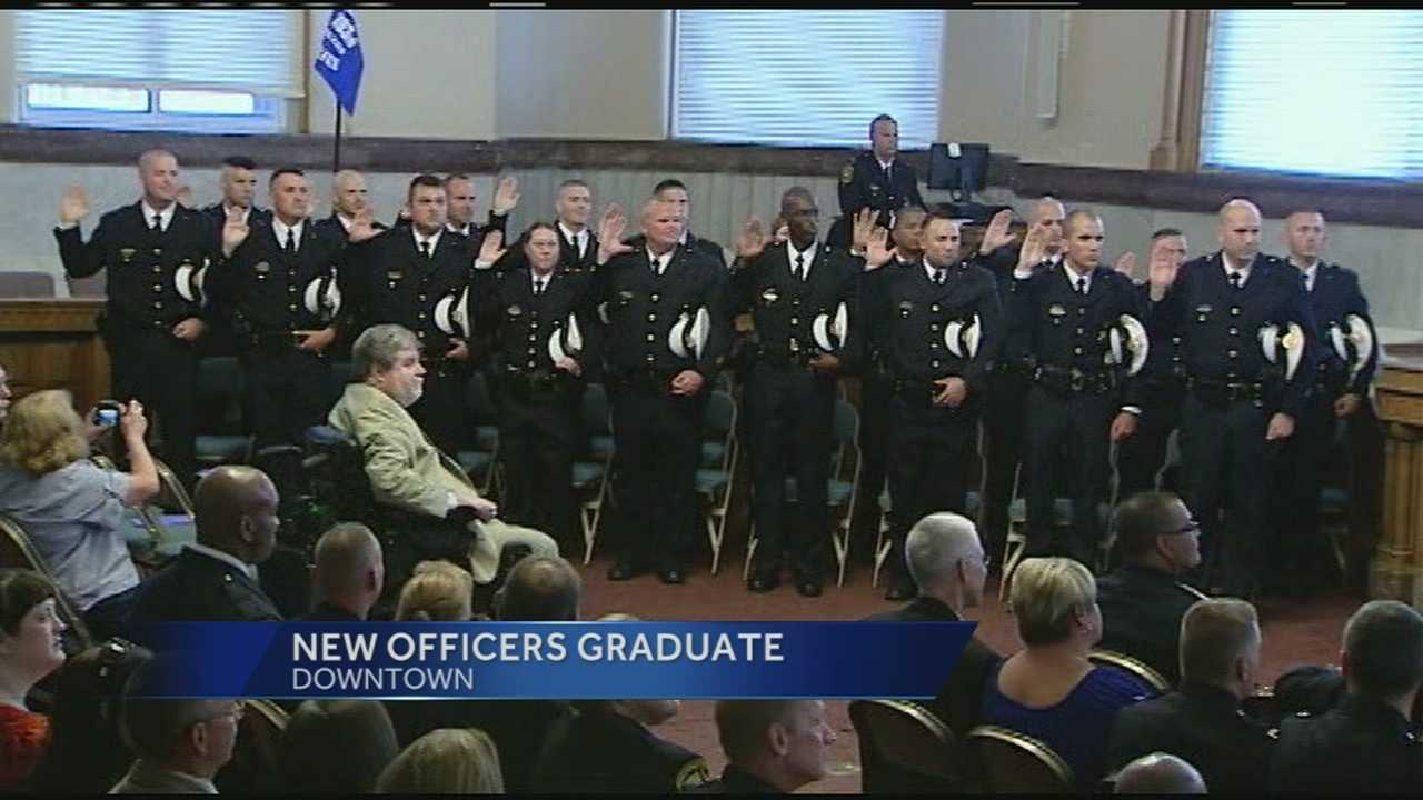 Blackwell commissioned 19 officers at City Hall Thursday afternoon. The new officers came from a lateral police class, meaning they all had Ohio certification and have law enforcement experience with another department.