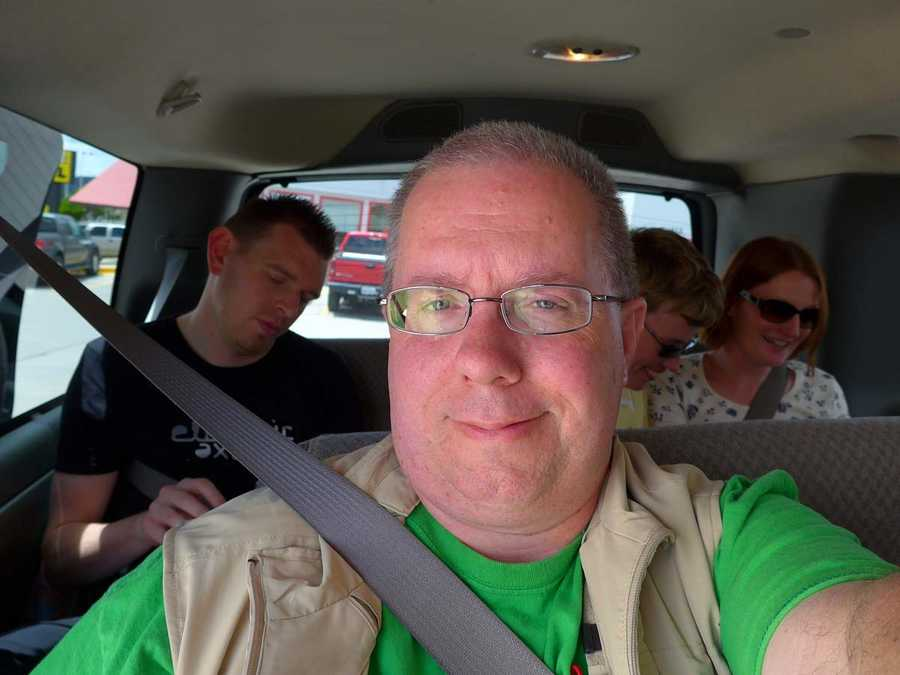 In the van. Lewis, Deb and Angela behind me from left to right