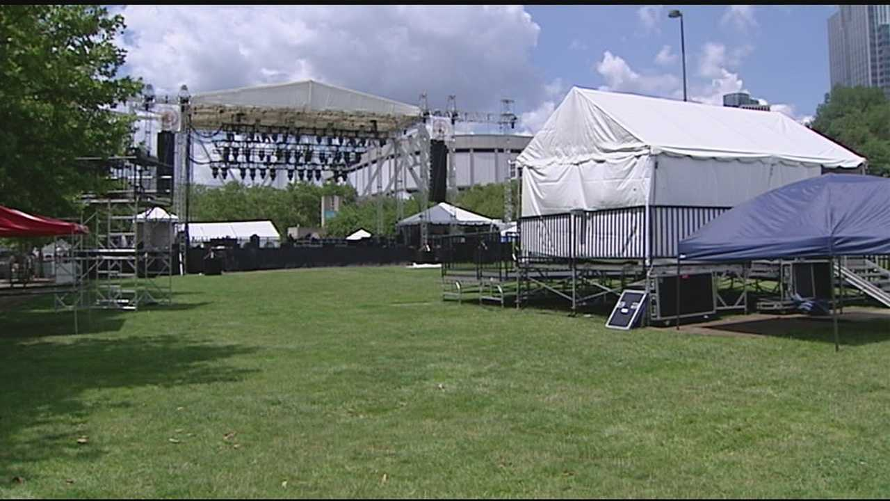 Amid the Party in the Park goers crews are busy setting up Yeatman's Cove and Sawyer Point for the Bunbury Festival.