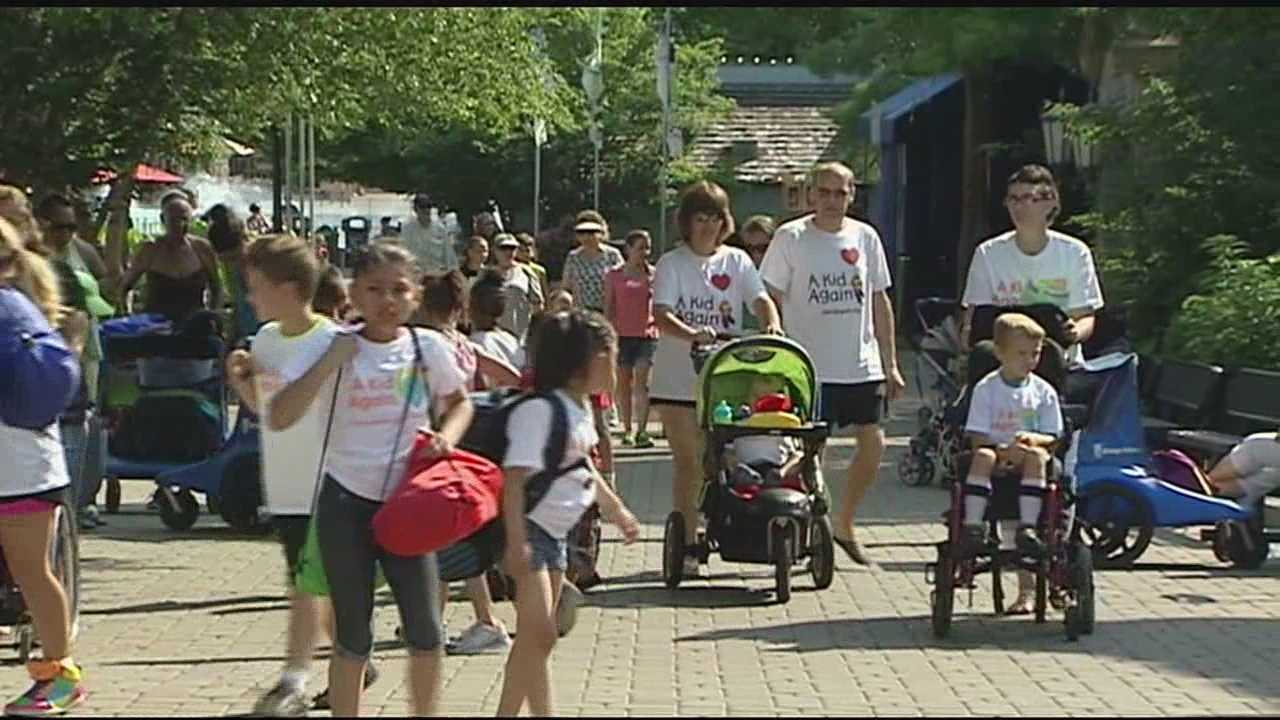 A Kid Again, a nonprofit organization that strives to enrich the lives of children with life-threatening illnesses by providing fun filled events for them and their families, had its annual outing today at Kings Island.