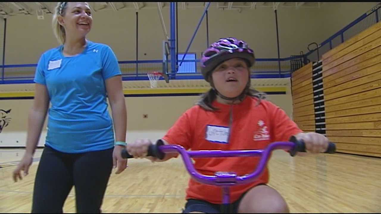 The I Can Bike camp focuses on teaching children with Down syndrome how to ride their bike, independently.