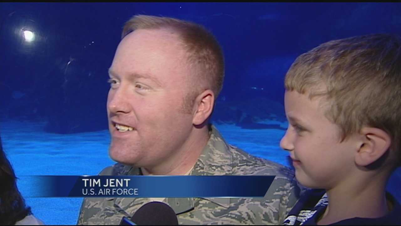 A Tri-State 6-year-old found more than fish during a trip to the Newport Aquarium Tuesday. Logan Jent's father, who had been serving overseas for the past seven months, showed up during a dive show.