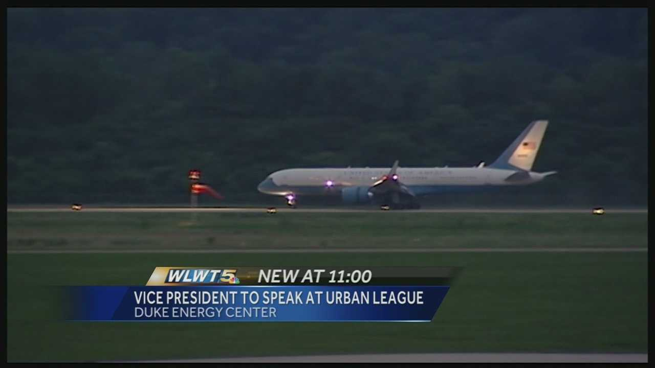 Vice President Joe Biden's plane landed at Lunken Airport just before 9 p.m. Wednesday night. He left in a motorcade about an hour later.
