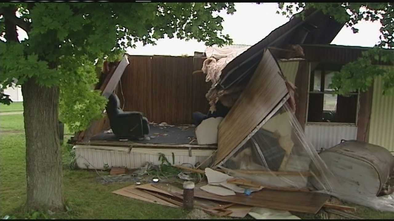 Several homes and buildings were damaged Sunday night as a weak tornado touched down in Highland County.