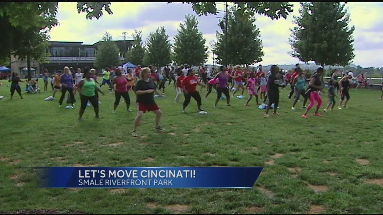The Let's Move Cincinnati event at Smale Park kicked off Saturday. Organizers said hundreds of participants put their bodies in motion along the riverfront as the Tri-State accepted first lady Michelle Obama's physical fitness challenge.