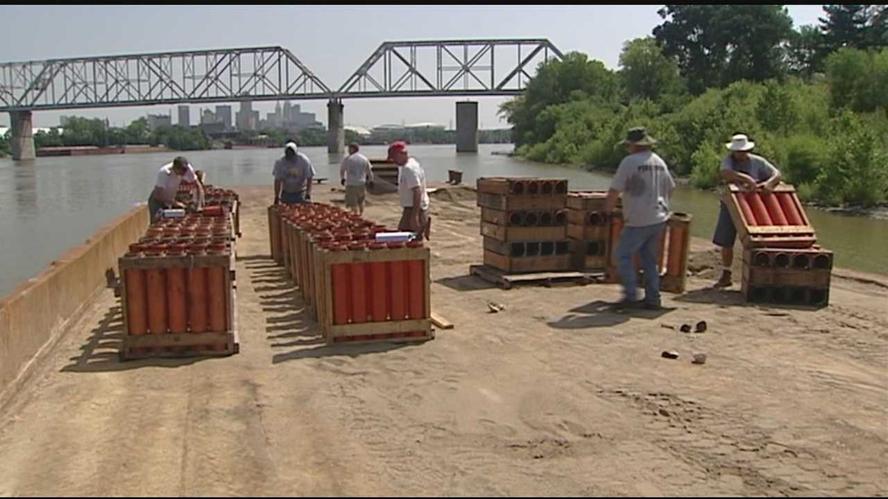 Take two barges, tons of sand, and hundreds of firework mortars, put them together and what do you get? Well a fantastic Labor Day Weekend Firework display. Between the design, preparations at the plant, and about a week on sight, the entire display takes about two months to stage.