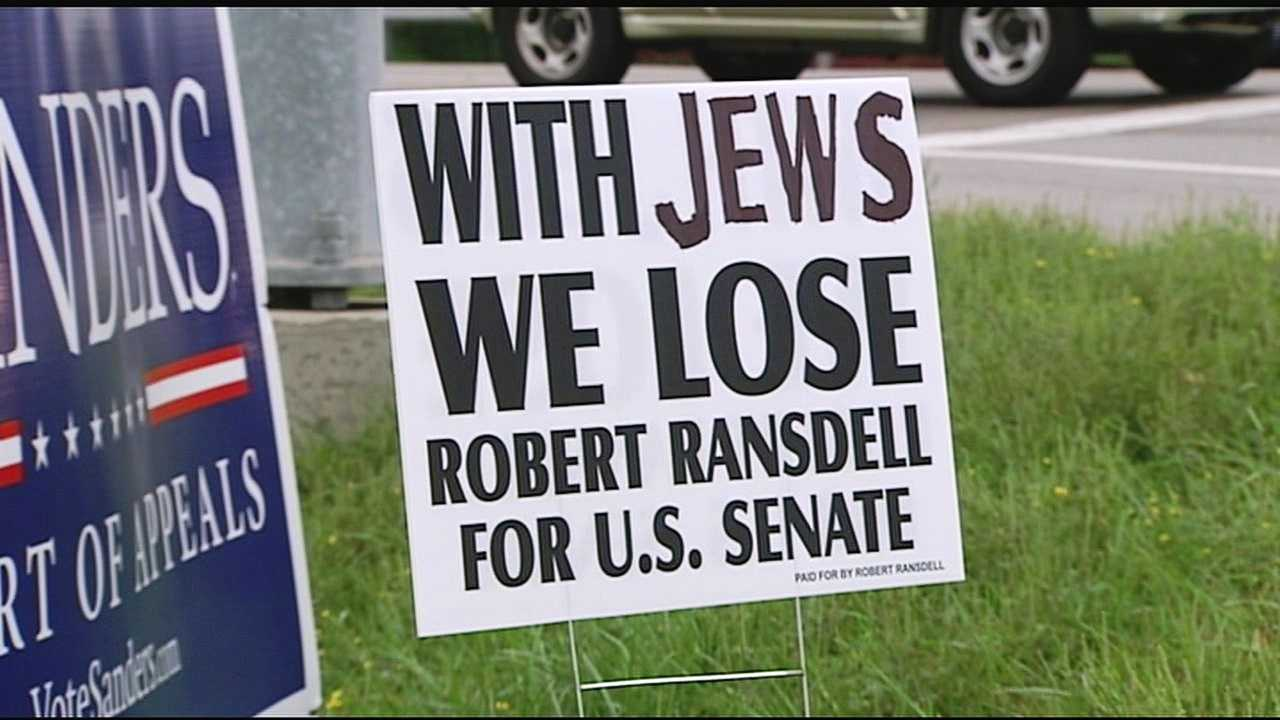"Robert Ransdell said he knows he cannot win against Republican Mitch McConnell or Democrat Alison Lundergan Grimes but wants to use the campaign to spread his slogan, ""With Jews We Lose."""