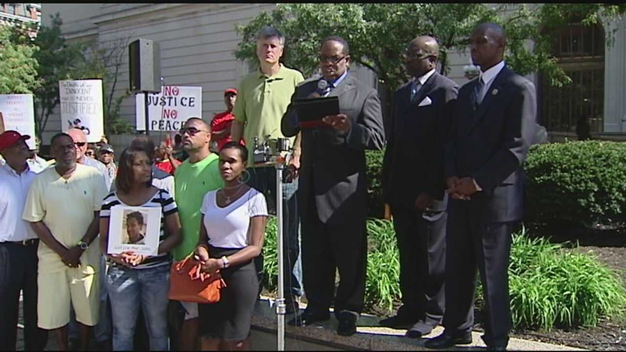 The protest took place at the courthouse because of the involvement of the Hamilton County Prosecutor's Office in the investigation of the deadly shooting of John Crawford III.