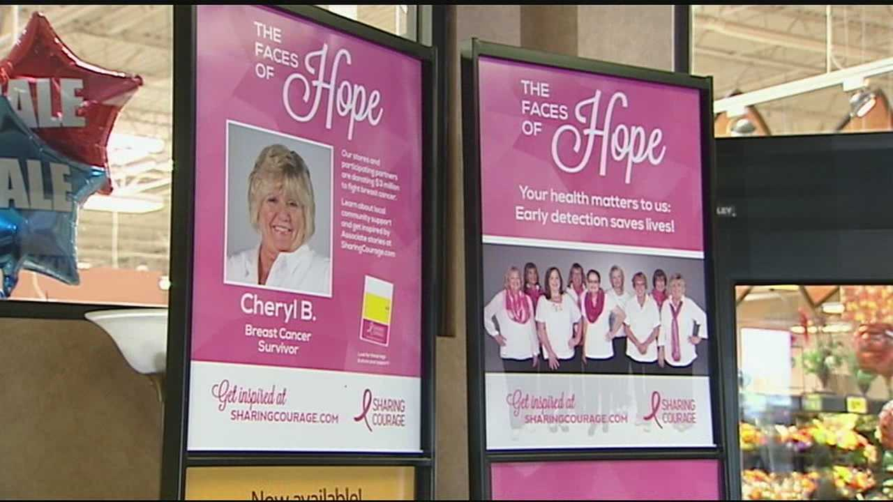 Monday morning, the Kroger headquarters in downtown Cincinnati turned on the pink lights and revealed a 150 foot billboard to kick off their Sharing Courage campaign.
