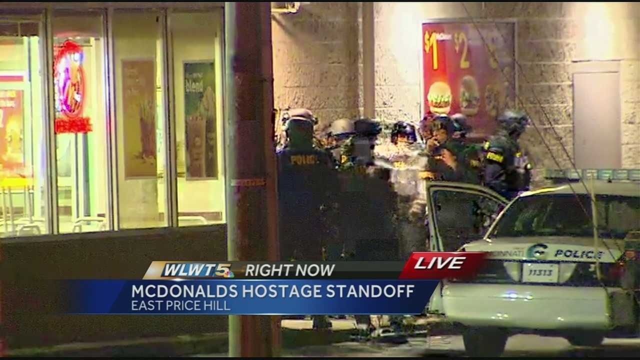 Cincinnati police were involved in a standoff at the McDonald's on Warsaw Avenue in East Price Hill. The SWAT team had entered the building and was able to get all the employees out safely, according to authorities