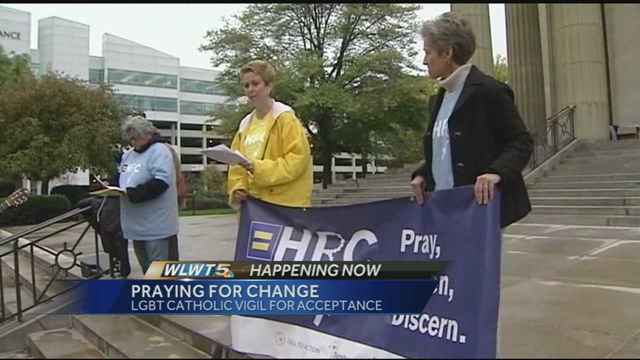 The Human Rights Campaign and the Cincinnati LGBT community gathered outside the church to talk about the issue of having gay parishioners involved in the church.