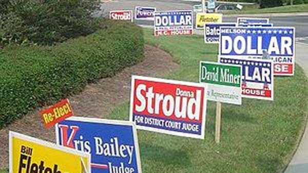 File photo of campaign signs