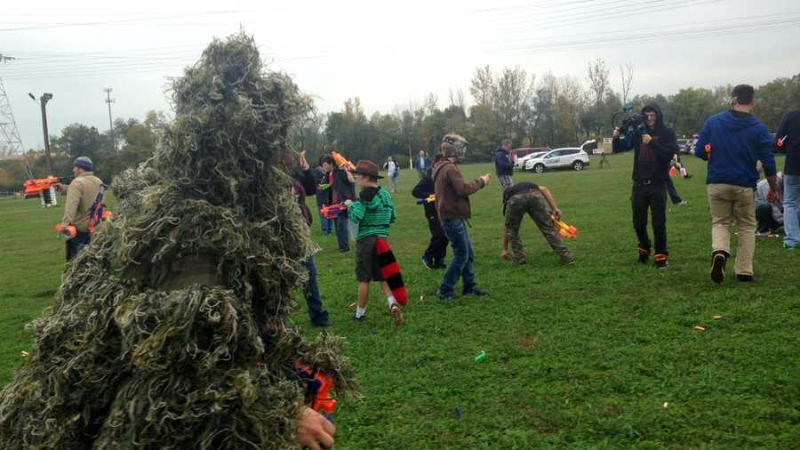 Nerf fans tried to set a world record at the Hamilton County Fairgrounds on Saturday morning.