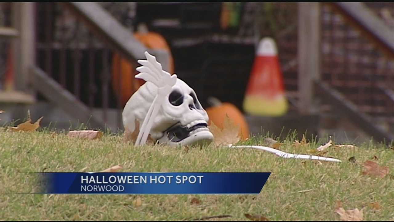 A Norwood neighborhood is raising the spirit of Halloween with ladders and step stools. In the shadow of the Indian Mound that the street is named for, residents do their best to make things as scary as possible for trick or treaters.