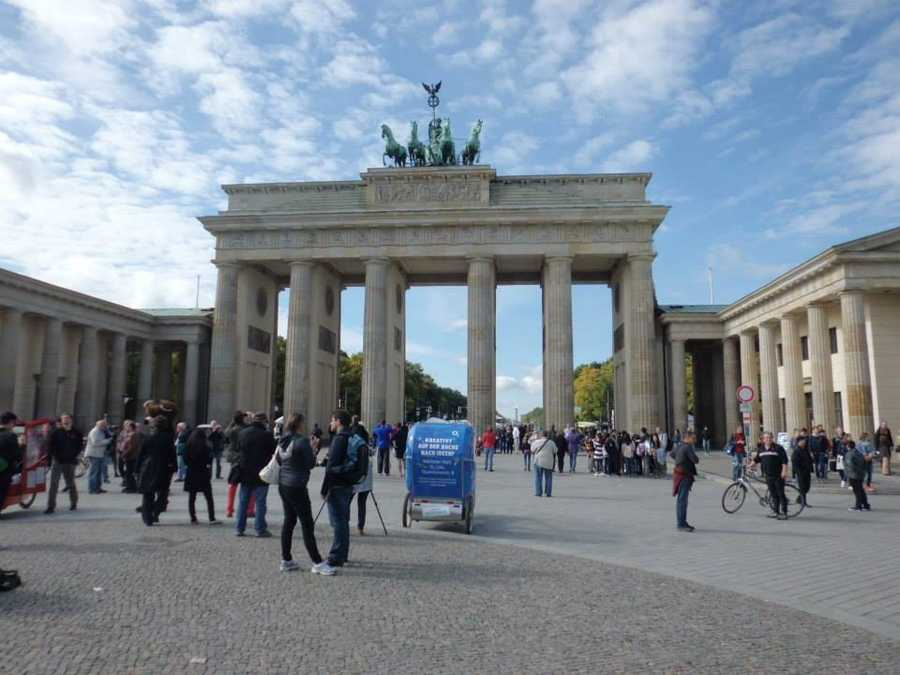 The Berlin Wall passed within feet of the historic Brandenburg Gate, with the gate being in East Germany.